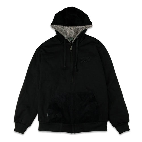 Removable Bear Black Corduroy Zip Up Hoodie