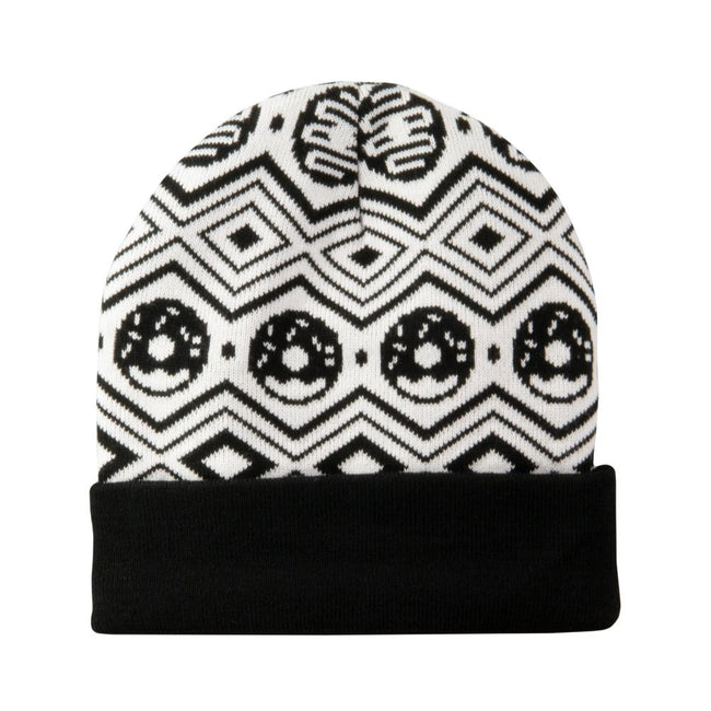 KGB Glass Donut Black White Aztec College Beanie
