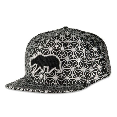 Removable Bear Geo Triangles Silver Snapback Hat