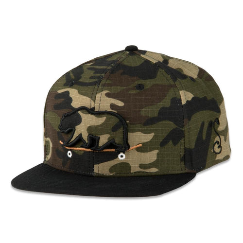 Removable Bear Skateboard Ripstop Camo Snapback Hat