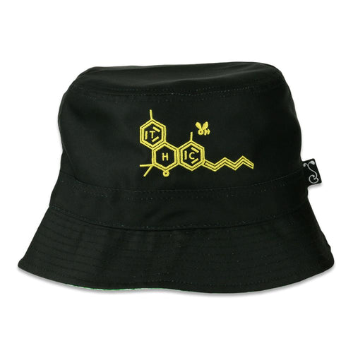 THC Bee Black Tie Dye Reversible Bucket Hat