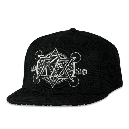 12th Anniversary Allover Platonic Black Snapback Hat