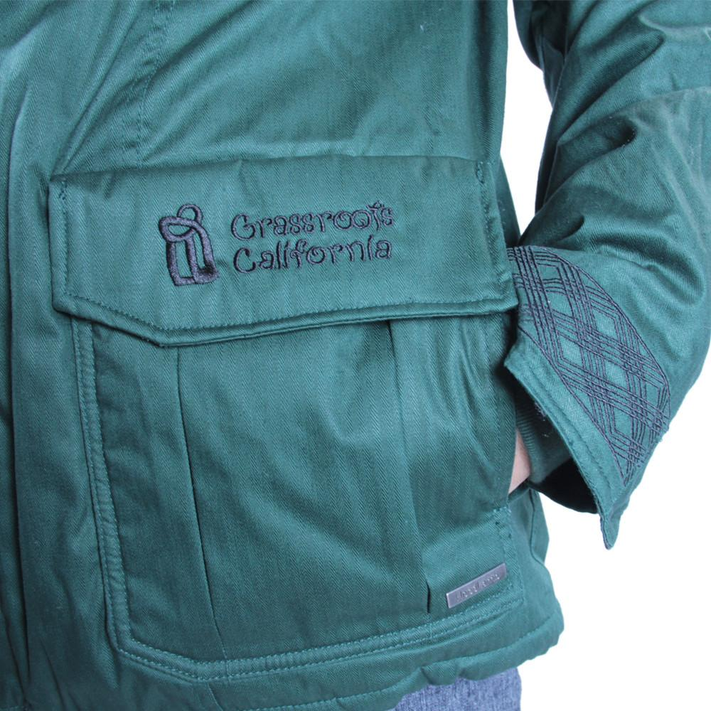Men's Hemp HoodLamb 2015 Green Jacket - Grassroots California - 5
