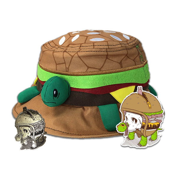 Jeremy Fish Turtle Burger Bucket Hat + Pin + Sticker Combo - Grassroots California