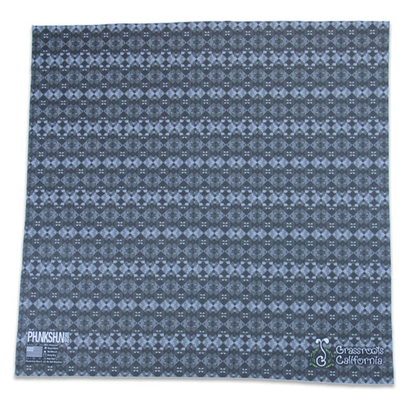 Phunkshun X GRC Aztec Surf Black and Gray Pattern Bandana - Grassroots California - 1