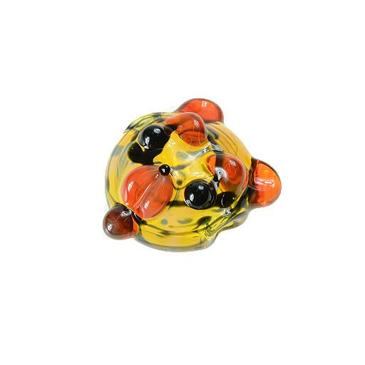 Shurlok Abstract with Orange Ears Bear Face Pendant - Grassroots California - 1