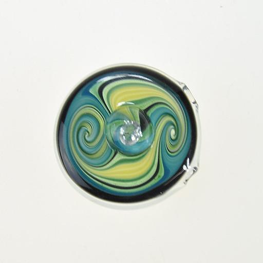 AJ Roberts Glass Secret Gem Pendant Blue Green Yellow