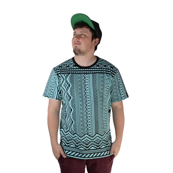 Aztec All Over Teal T Shirt - Grassroots California - 1