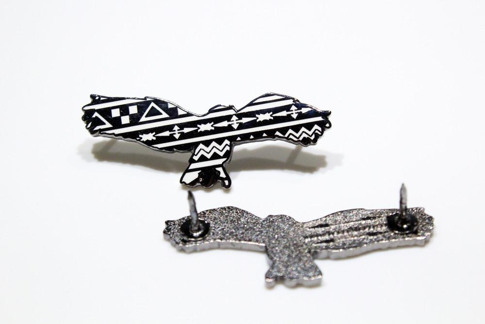 Aztec Eagle Black and White Pin