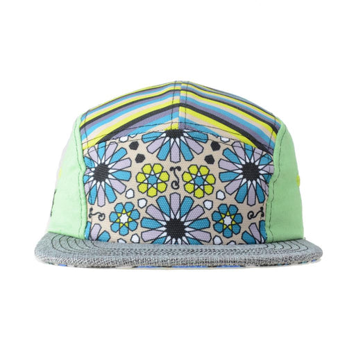 Barcelona Green Floral 5 Panel Strapback - Grassroots California - 1