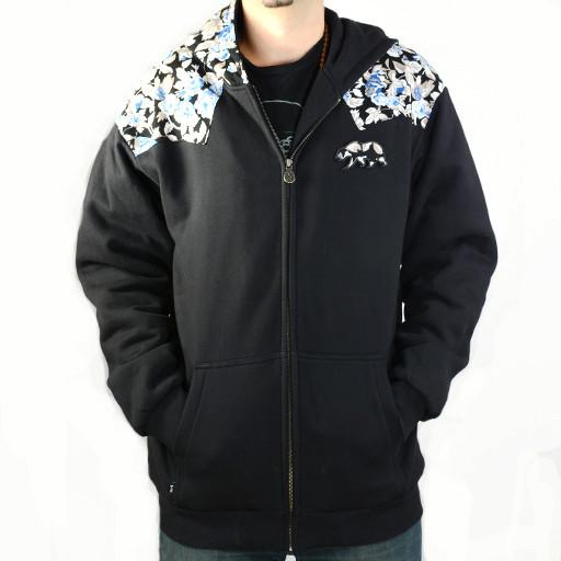 Bear Collection Black Floral Zip Hoodie