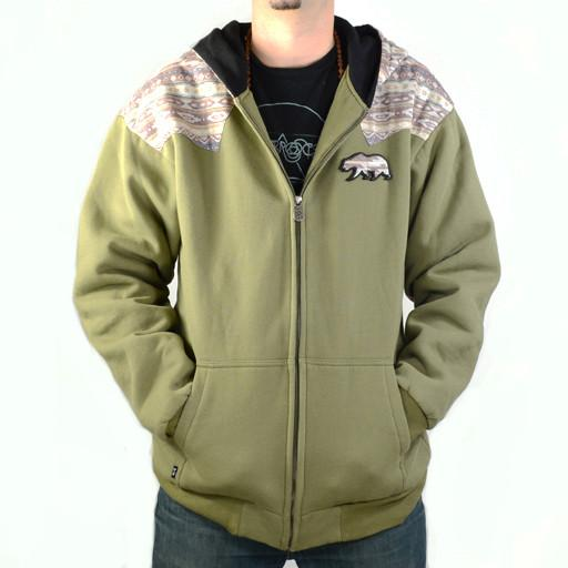 Bear Collection Green Brown Andes Zip Hoodie