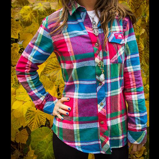 Bear Collection Women's V2 Magenta Flannel - Grassroots California