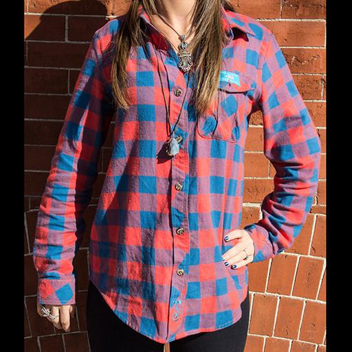 Bear Collection Women's V2 Orange/Blue Flannel - Grassroots California
