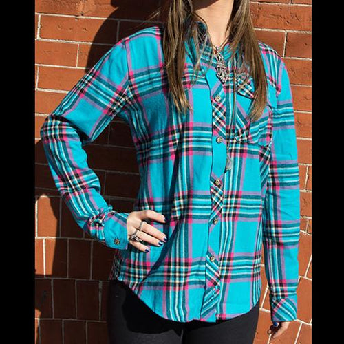 Bear Collection Women's V2 Teal Flannel - Grassroots California