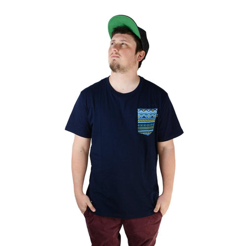 Blue Aztec Pocket T Shirt - Grassroots California - 1