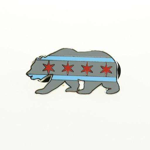 Chicago Flag Bear V2 Pin - Grassroots California