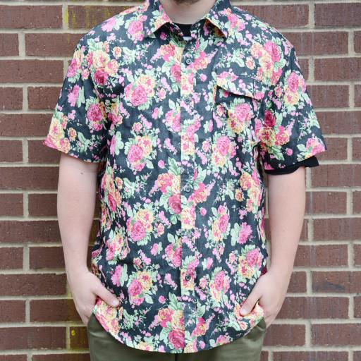 Denim Floral Button Up Short Sleeve
