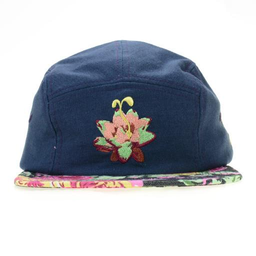 Denim Floral Lotus 5 Panel Snapback