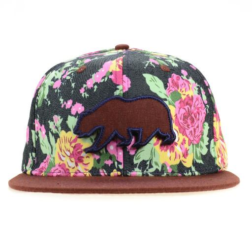 Denim Floral Maroon Removable Bear Fitted