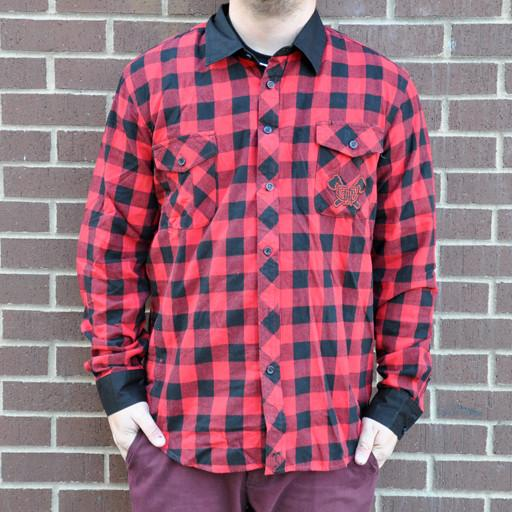 Flannel Men's Red with Black Collar 2015