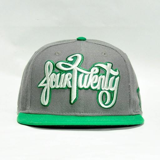 Four Twenty Dampie Script Green/Gray StrapBack