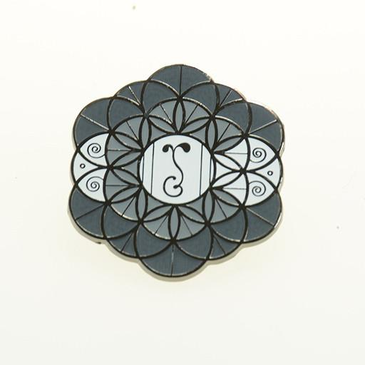 G Sprout Flower of Life Gray Black Pin