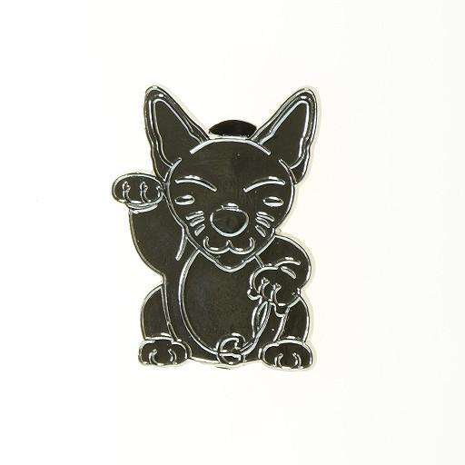 Good Luck Monster Kitty Silver Pin