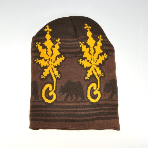 G Sprout Snowflake Beanie Brown Yellow w NO Pom - Grassroots California