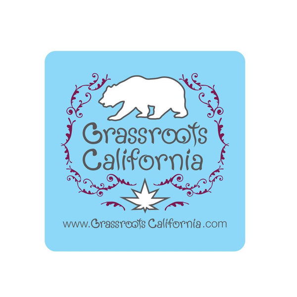 GRC Baby Blue Square Sticker - Grassroots California