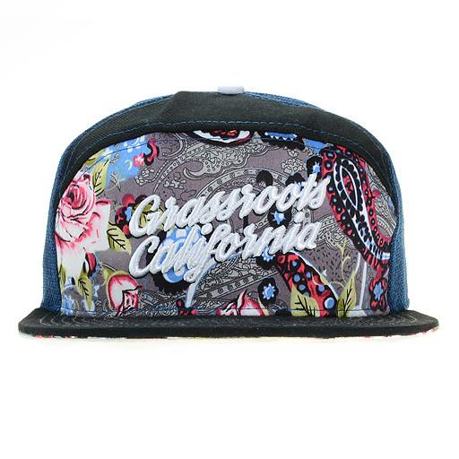 Floral Paisley 6 Panel Navy Snapback