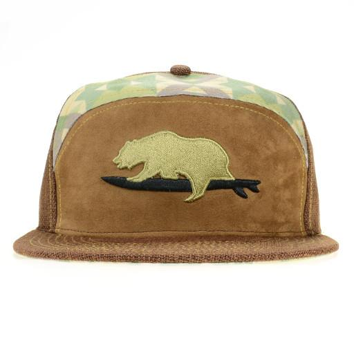GRC Surf Bear Brown 6 Panel Strapback - Grassroots California