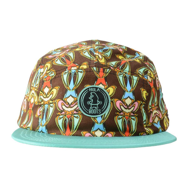 Hularoots Brown Pattern 5 Panel Snapback - Grassroots California - 1