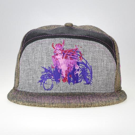 Hulaween Bull Tan Purple Hemp 6 Panel Snapback