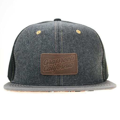 Leather Patch Black Floral Paisley Fitted - Grassroots California - 1