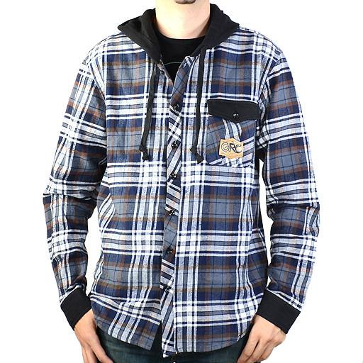 Men's Gray Brown Hooded Flannel