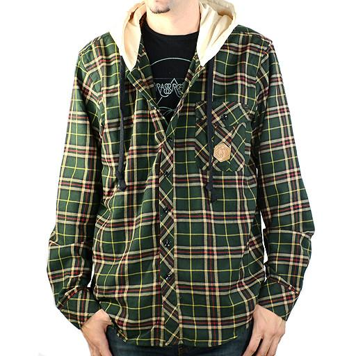 Men's Green Tan Hooded Flannel