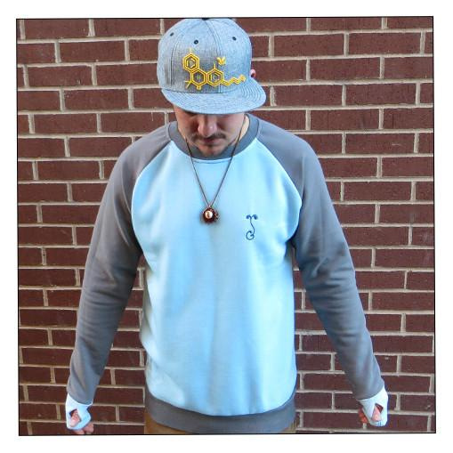 Men's Long Light Blue Crew Neck