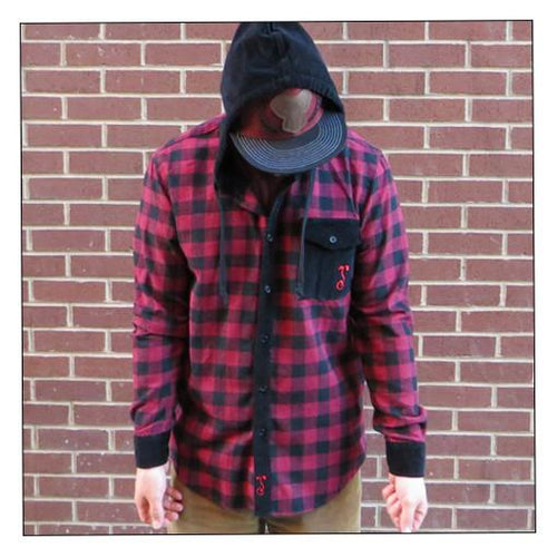 Men's Red Black Hooded Flannel - Grassroots California