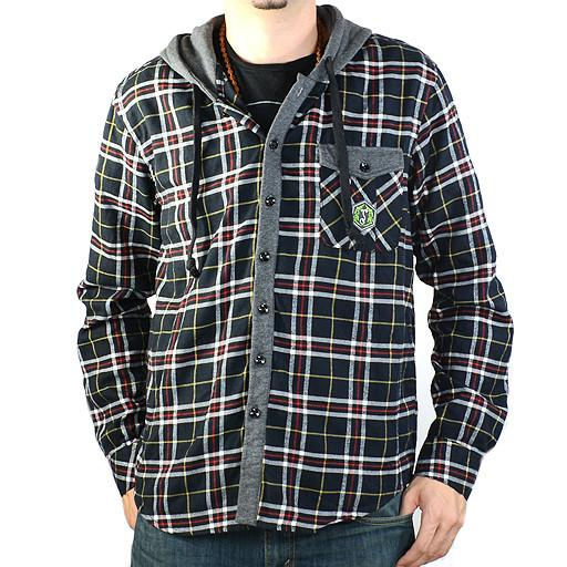 Men's Red Black Gray Hooded Flannel