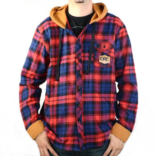 Men's Red Blue Hooded Flannel