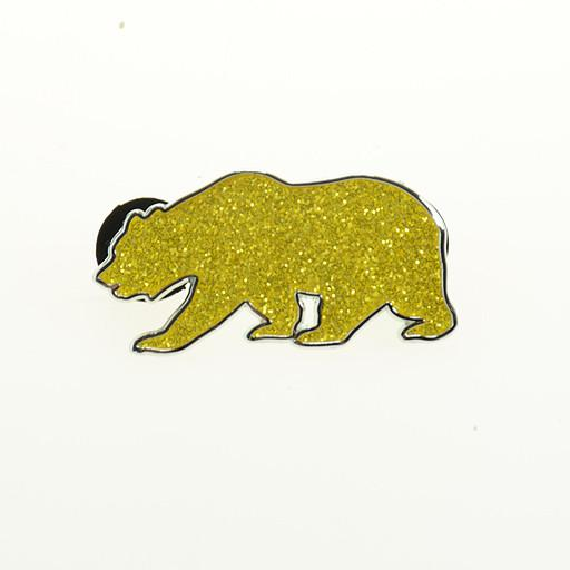 Gold Glitter Bear Pin