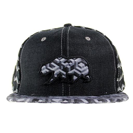 Removable Bear Geometric Black Snapback - Grassroots California - 1