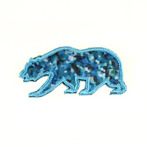 Removable Bear Patch Blue Crystals