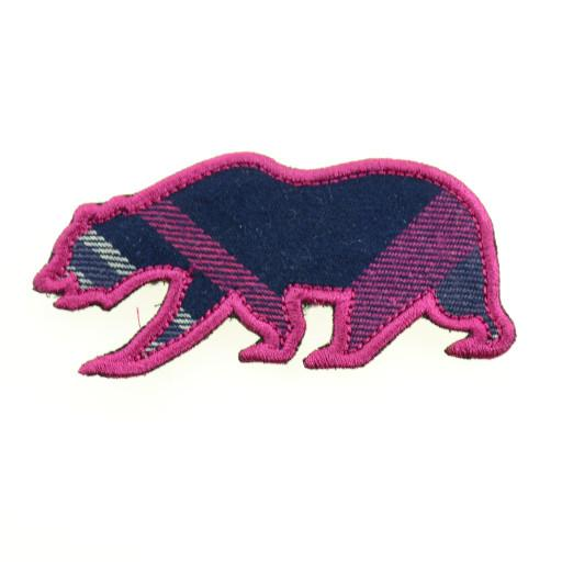 Removable Bear Patch Flannel Bear Pink Plaid