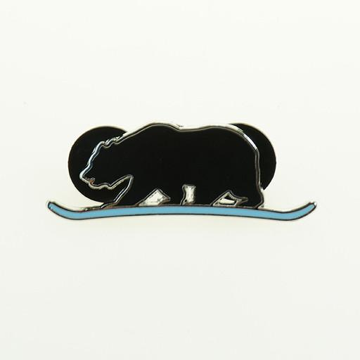 Snowboarding Black Bear Pin - Grassroots California
