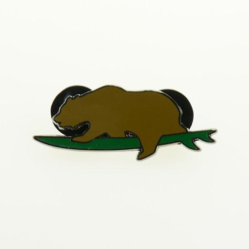 Surfing Brown Bear Pin - Grassroots California