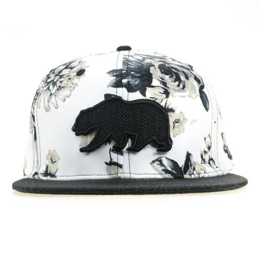 White and Black Floral Removable Bear Patch Fitted - Grassroots California