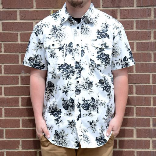 White Floral Button Up Short Sleeve