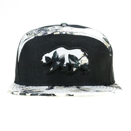 White Floral Removable Bear Patch 6 Panel Strapback